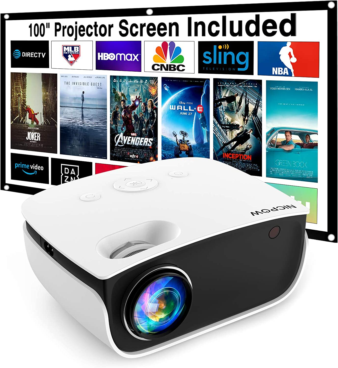 """Video Projector,NICPOW 5500 Lux Mini Projector with 100Inch Projector Screen,1080P and 240""""Supported Outdoor Movie Projector,Compatible with Fire TV Stick,PS4,HDMI,VGA, AV,Smartphone"""