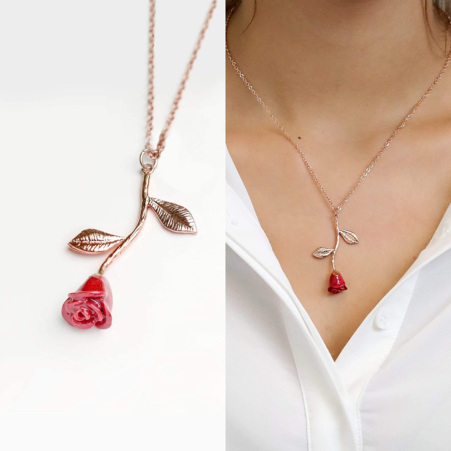 Amazon Com Beauty And The Beast Rose Necklace In Red Petal And Rose Gold Anniversary Gift For Her Personalized Bridesmaid Gift Unique Gifts For Women Mother S Day Gifts 3ern Handmade