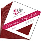 12x12 Permanent Vinyl, 10 Pack Maroon Outdoor Adhesive Backed Craft Sheets in Matte Finish for Silhouette and Cricut to Make Monograms Stickers Decals and Signs by Scraft Artise