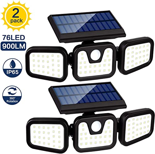 AOKIWO Solar Lights Outdoor, 3 Adjustable Heads, 900LM 6500 Solar Security Motion Sensor Light Outdoor 270 Wide Angle Illumination,IP65 Waterproof for Porch Garden Patio Yard Garage Pathway, 2 Pack
