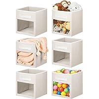 mDesign Soft Fabric Closet Storage Organizer Cube Bin Box, Clear Window and Handle - for Child/Kids Room, Nursery…