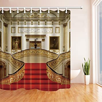 Roter Teppich Duschvorhang Landhaus Luxus Großes Bild Gast Ehren Badezimmer