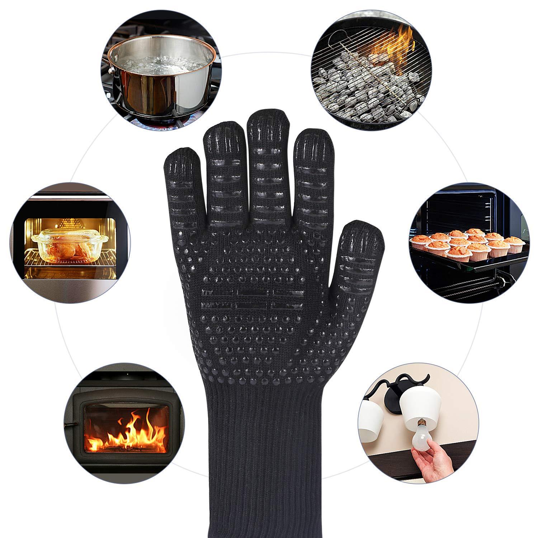 Schwarz Schwarz MILcea Grillhandschuhe Ofenhandschuhe Grill Lederhandschuhe Hitzebest/ändige bis zu 800 /° C Universalgr/ö/ße Kochhandschuhe Backhandschuhe f/ür BBQ Kochen Backen und Schwei/ßen-Klassisch Schwarz