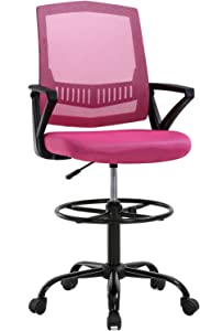 Drafting Chair Ergonomic Tall Office Chair with Arms Foot Rest Back Support Adjustable Height Rolling Swivel Desk Chair Mesh Drafting Stool for Standing Desk Adults Women(Pink)