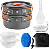 Odoland Camping Cookware Kit Non Stick Camping Pans for 1 to 5 People Portable Cook Set for Camping Hiking BBQ Picnic Outdoor Included Pan Pots Plates