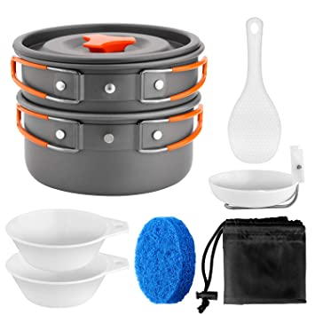 31f9d554b0b Odoland Camping Cookware Kit Non Stick Camping Pans for 1 to 5 People Portable  Cook Set