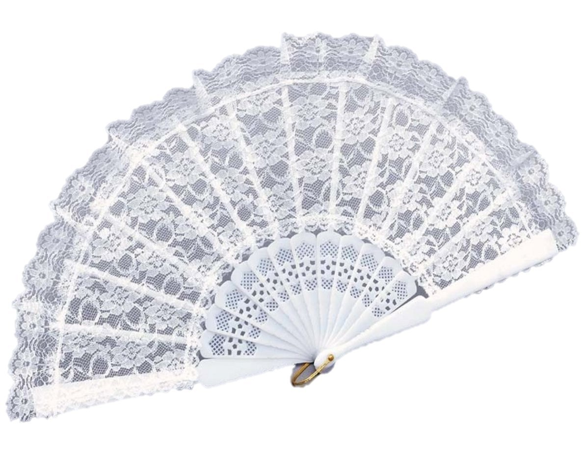 White Lace Hand Fan Wedding Party Moulin Rouge Spanish Accessory ...