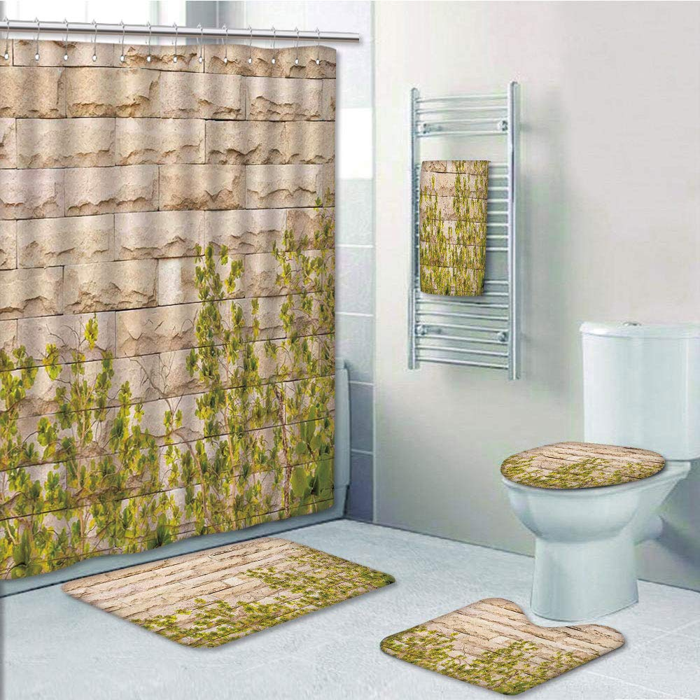 Bathroom 5 Piece Set Shower Curtain 3D Print,Rustic Home Decor,Ground Creepy Climbing Wood Ivy Plant Leaf on Brick Wall Nature Invasion,Green White,Bath Mat,Bathroom Carpet Rug,Non-Slip,Bath Towls
