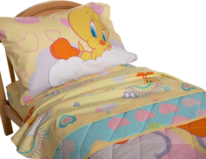 Tweety Bird Rainbow Hearts Butterflies 60% Cotton (Flat Top Sheet Only) Size TODDLER Boys Girls Kids Bedding