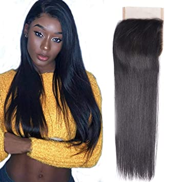 4x4 10inch Brazilian Straight Lace Closure 10a Brazilian Human Hair Straight Top Closure With Baby Hair Free Part Human Hair Extension Natural Black