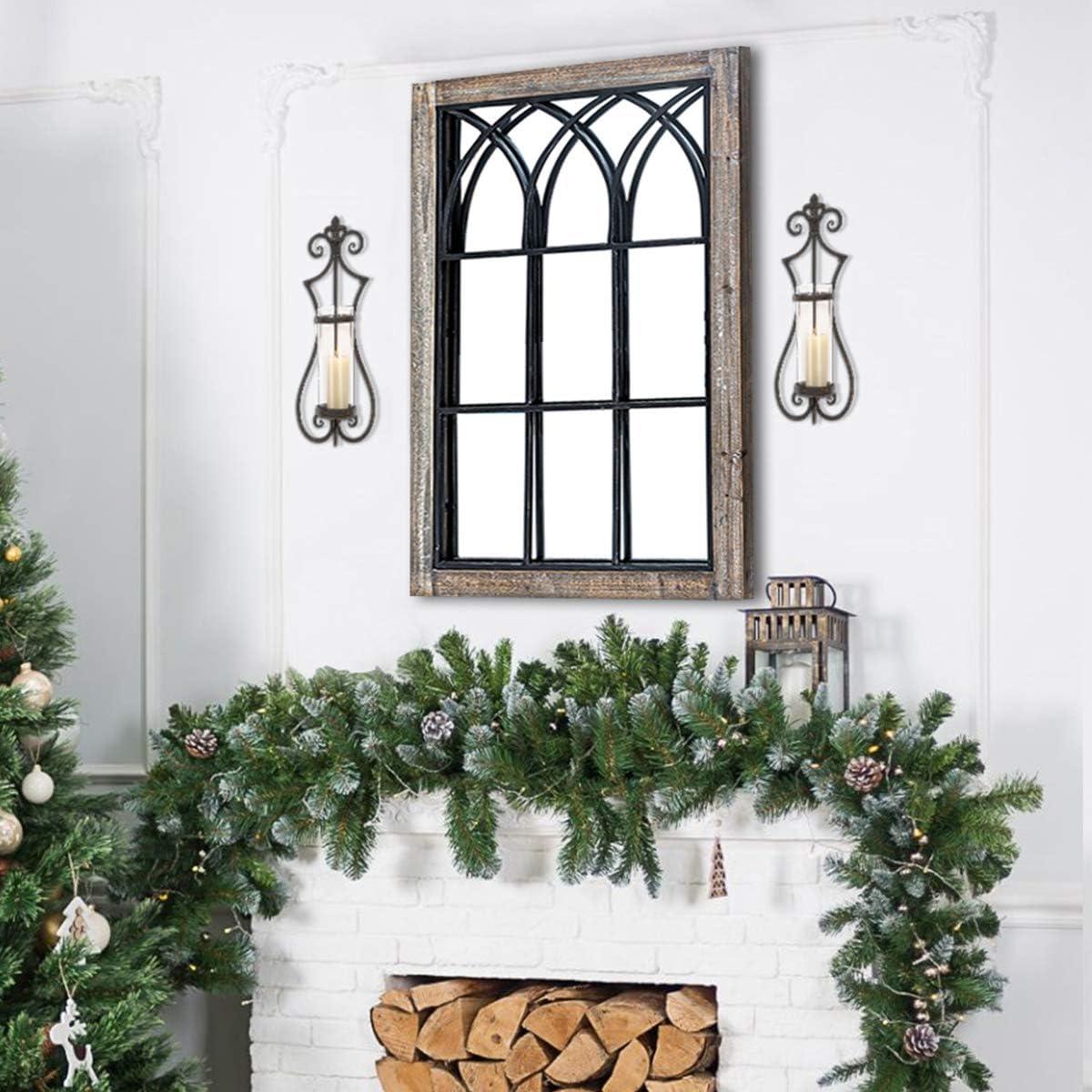 "HAWOO Farmhouse Mirror, Wood Windowpane Rustic Arch Mirror Wall Mirror, Window Mirrors for Wall Decor, 37.5"" H x 24"" W, Weathered Brown"