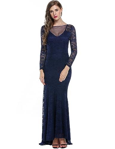 ANGVNS Vintage Style Elegant Women Floral Lace Long Bridesmaid Maxi Dress