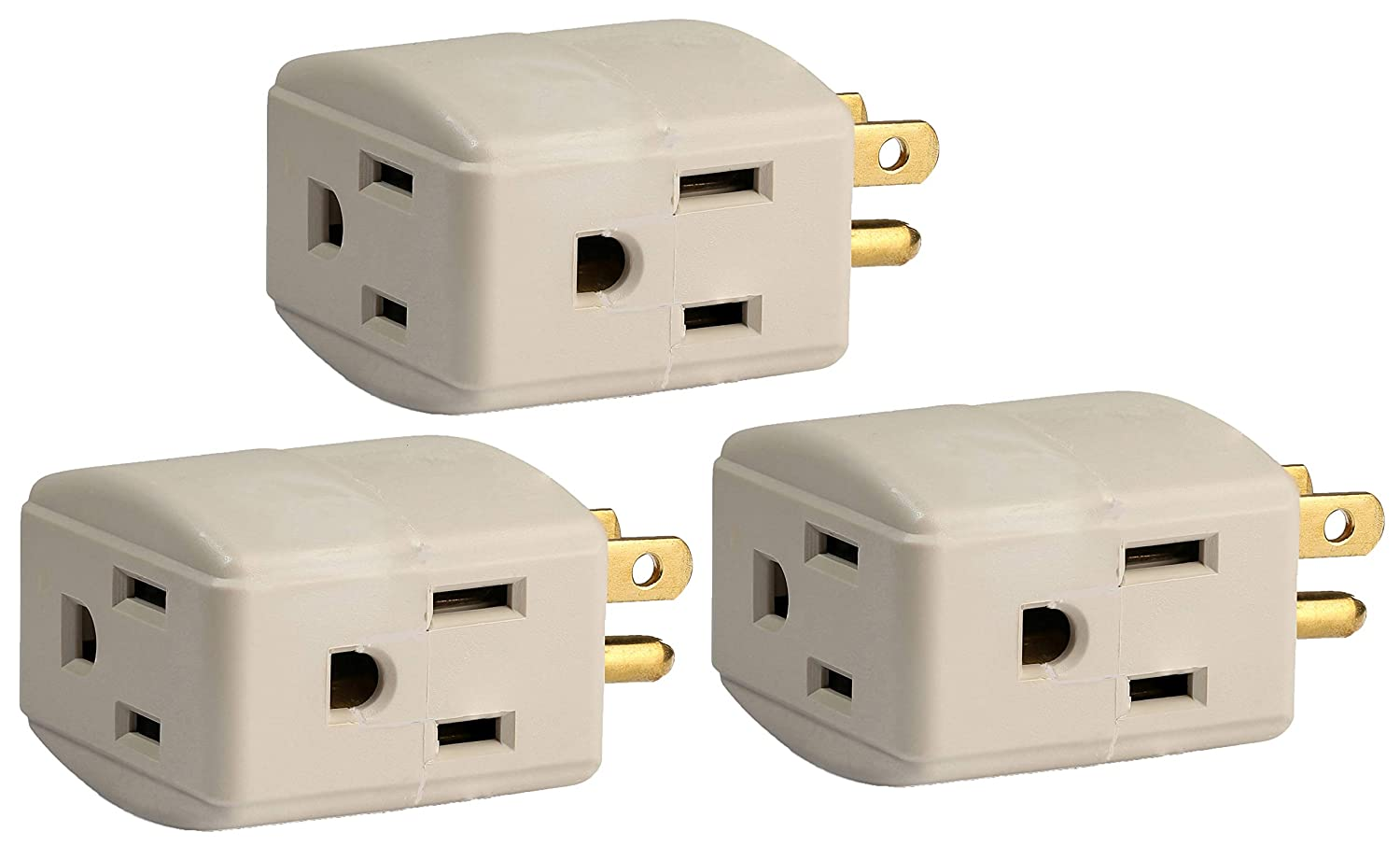 3-Pack Grounded 3-Outlet Tap, 3-Outlet Wall Tap Grounding Adapter, Triple Cube, 15-Amp 125-Volt, ETL Listed, Color Light Gray.