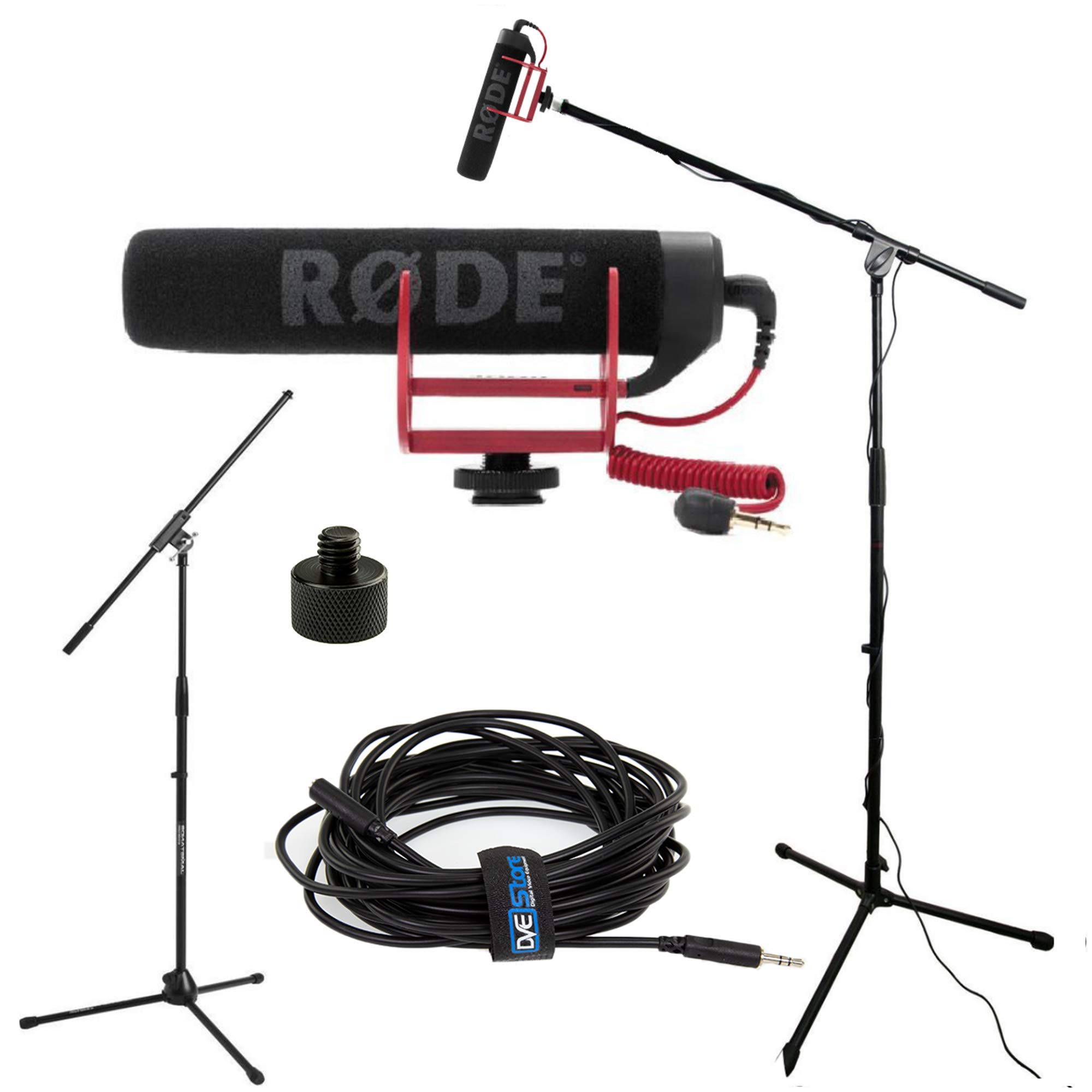 RODE VideoMic GO Studio Boom Kit - VideoMic GO, Boom Stand, Thread Adapter, and 25' Cable by DVESTORE