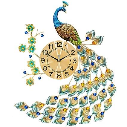SX-ZZJ Wall Clocks Peacock Wall Clock Decor Non-Ticking Home Decorative for Kitchen