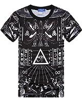 T-shirt short sleeve o neck 3D both side print Egyptian Hieroglyphics (XL)