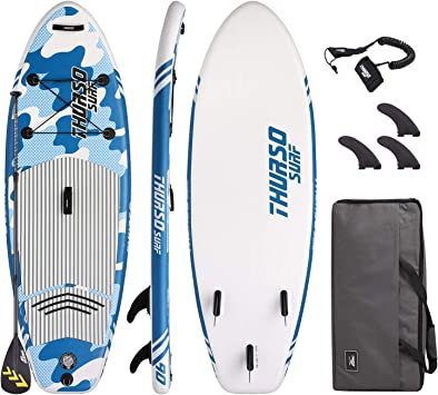 THURSO SURF Prodigy Junior Kids Inflatable SUP Stand Up Paddle Board 76 x 30 x 4 Two Layer Includes Adjustable Carbon Shaft Paddle/3 ...