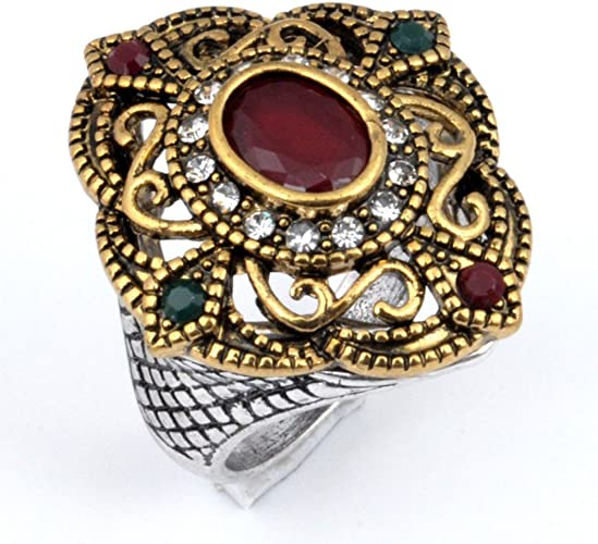 Dyed Ruby /& Emerald Silver Plated-Brass Ring Size 6.5 US Handmade Exotic Turkish Style