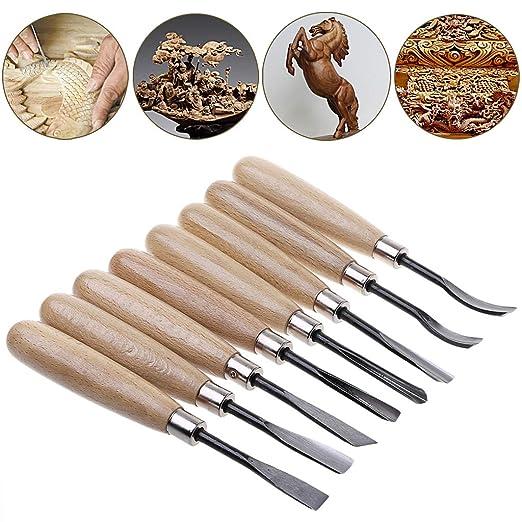 BINGHONG3 - Juego de 8 Cuchillos para tallar Madera ...