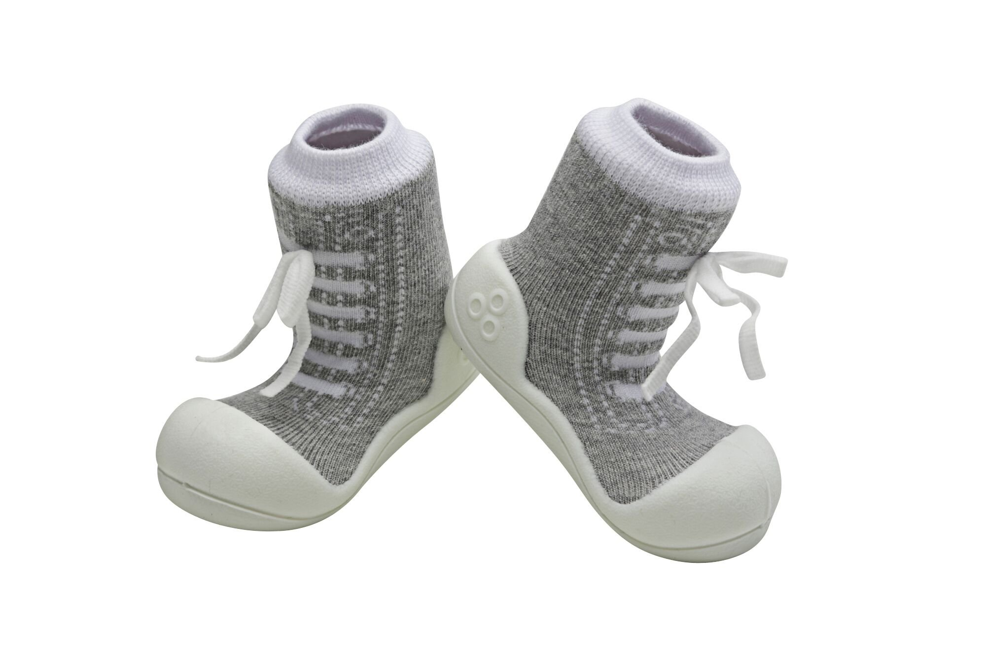 Attipas Best First Walker Shoes Baby Cotton Socks Shoes Non Toxic Safe Great Baby Registry Gifts (US Toddler 4.5, Sneakers Grey) by Attipas (Image #2)