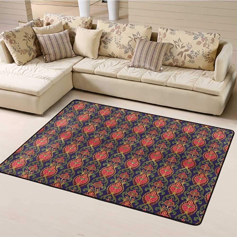 """Large Carpet Mat Turkish Pattern Washable Area Rugs Oriental Botanical Pattern with Pomegranates and Leaves on Indigo Backdrop Carpet for Home Decor Multicolor (6'6""""x8')"""