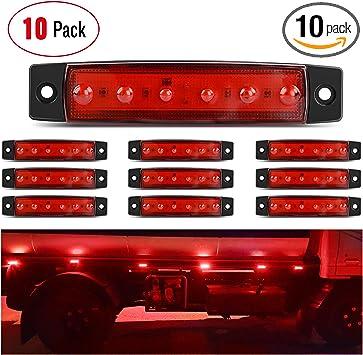 "10 Red 3.8/"" 6LED Side Marker Indicators Light Truck Trailer Clearance 10 Amber"