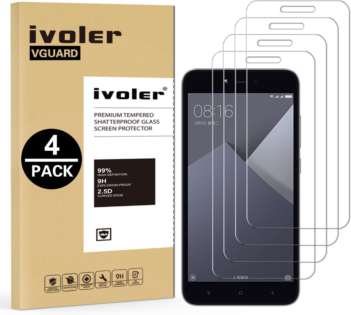 ivoler [4 Unidades] Protector de Pantalla para Xiaomi Redmi Note 5A / Xiaomi Redmi Note 5A Prime, Cristal Vidrio Templado Premium