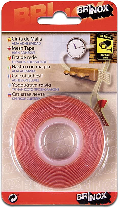 Transparente Brinox B62150H Cinta adhesiva 2 caras con malla 19 mm x 2,5 m