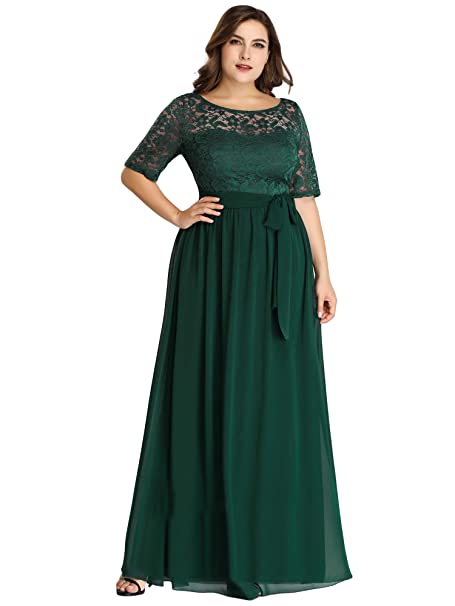 Alisapan Womens Lace Short Sleeve Plus Size Evening Party Bridesmaid  Dresses 7624