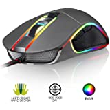 ⭐️KLIM AIM Gaming Mouse - Chroma RGB - PRECISE - Wired PC USB - Adjustable 500 to 7000 DPI - Programmable Buttons - Comfortable for all hand sizes - Ambidextrous & Ergonomic grip for Laptop Gamer