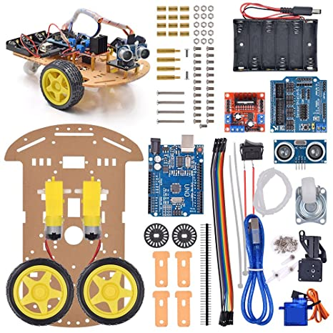 Diy Kit Motor Smart Robot Chassis Kit With Speed Encoder Battery Box 2wd Tracking Obstacle Avoidance Intelligent Car For Arduino Smart Home