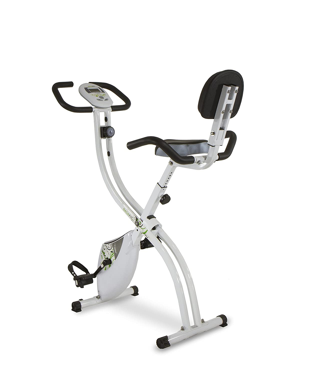 Tecnovita by BH BACK FIT YF91. Flywheel equivalent to 18 lbs. Get in shape in the comfort of your own home! Foldable fitness bicycle. Backrest and easy access. LCD Monitor. Folds easily. White BH Home Fitness