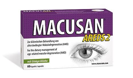 MACUSAN AREDS2 suplementos para los ojos maculares vitaminas con luteína, zeaxantina y ginkgo biloba para