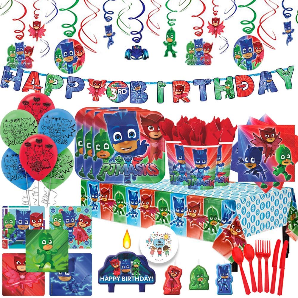 PJ Masks MEGA Deluxe Party Supplies Pack With Decoration For 16 With Plates, Napkins, Balloons, Birthday Banner, Swirl Decoration, Napkins, Tablecover, Candles, Stickers, Cutlery and Exclusive Pin