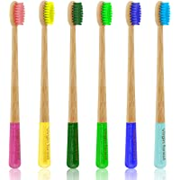 Bamboo Toothbrush, Natural Eco Friendly Biodegradable Wood Toothbrushes, Vegan Organic Charcoal Tooth Brush, Pack of 6
