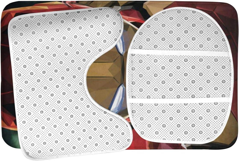 U-Shaped Contour Mat and Lid Cover 3-Pack Bath Mat Set Iron Man Art Non Slip Bathroom Rug Set