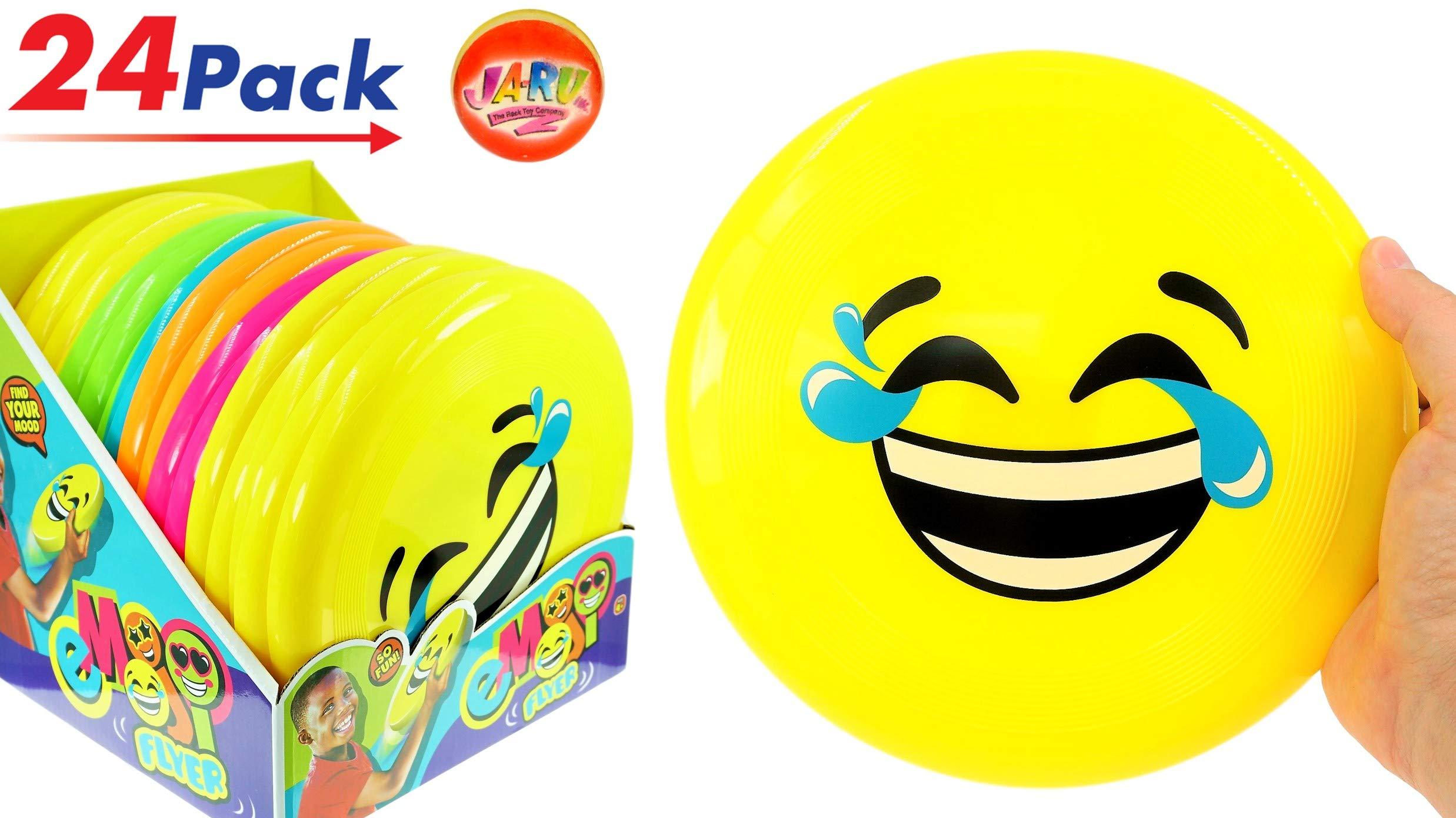 JA-RU Flying Disk Frisbee Emoji Faces (Pack of 24) Water-Proof Flying Disc Hours of Fun | Item #6568-24p