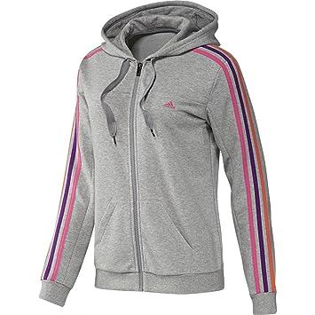 adidas Essentials Damen Trainingsjacke, Climalite, Baumwolle, mit  Reißverschluss, Kapuze, 3 Streifen cfcca0fa72