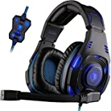 SADES SA907 USB 7.1 Virtual Surround Sound Stereo WCG Gaming Headset Headphones for PC with Microphone Volume-Control Blue LED light Two Modes (Black)
