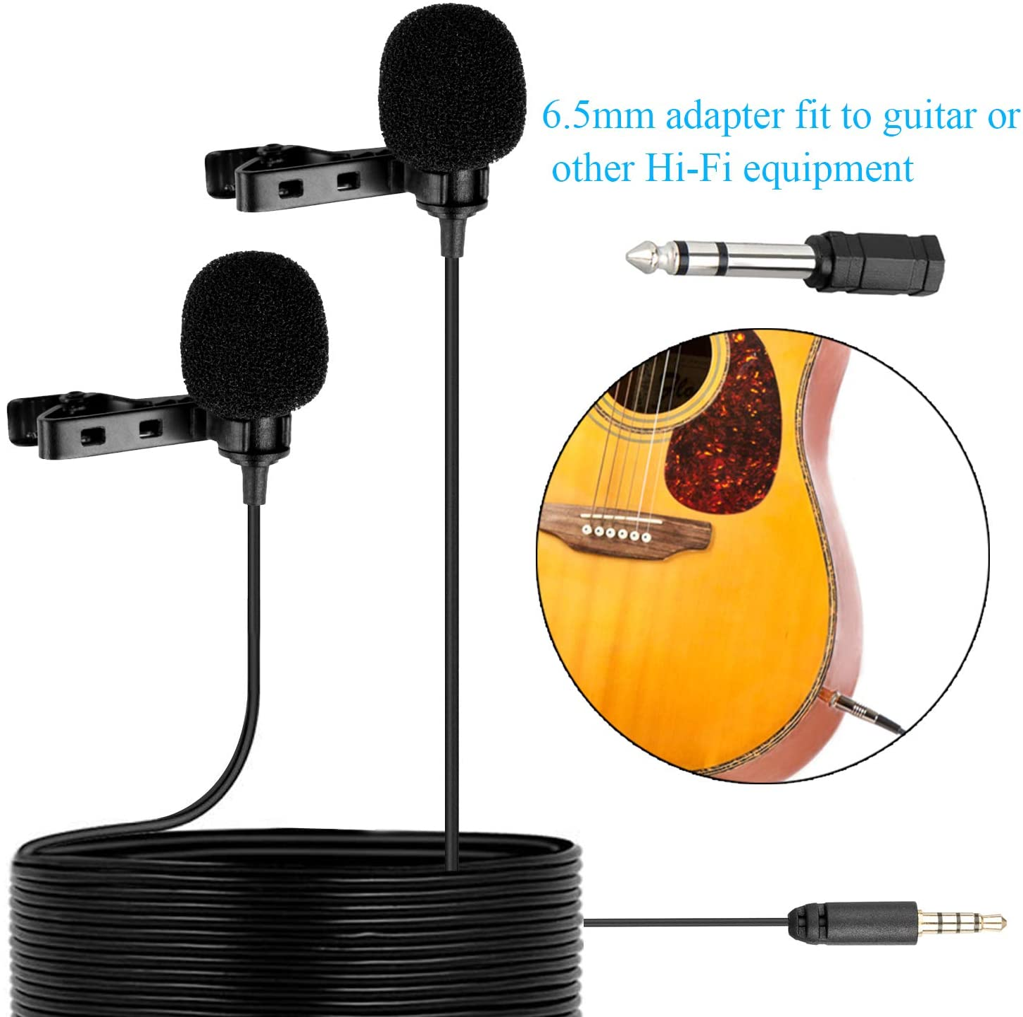 omnidirektionales Kondensatormikrofon f/ür iOS iPhone Android Handy DSLR Kamera Gitarre Aufnahme YouTube Interview Podcast Blog Vlog BOYA BY-M1DM Dual-Lavalier-Mikrofon
