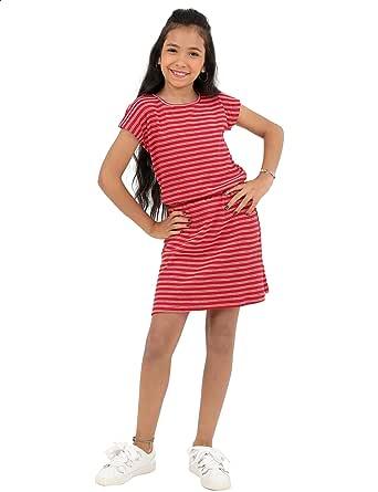 فستان مخطط بأكمام قصيرة واستك للبنات من قاضي - احمر وابيض