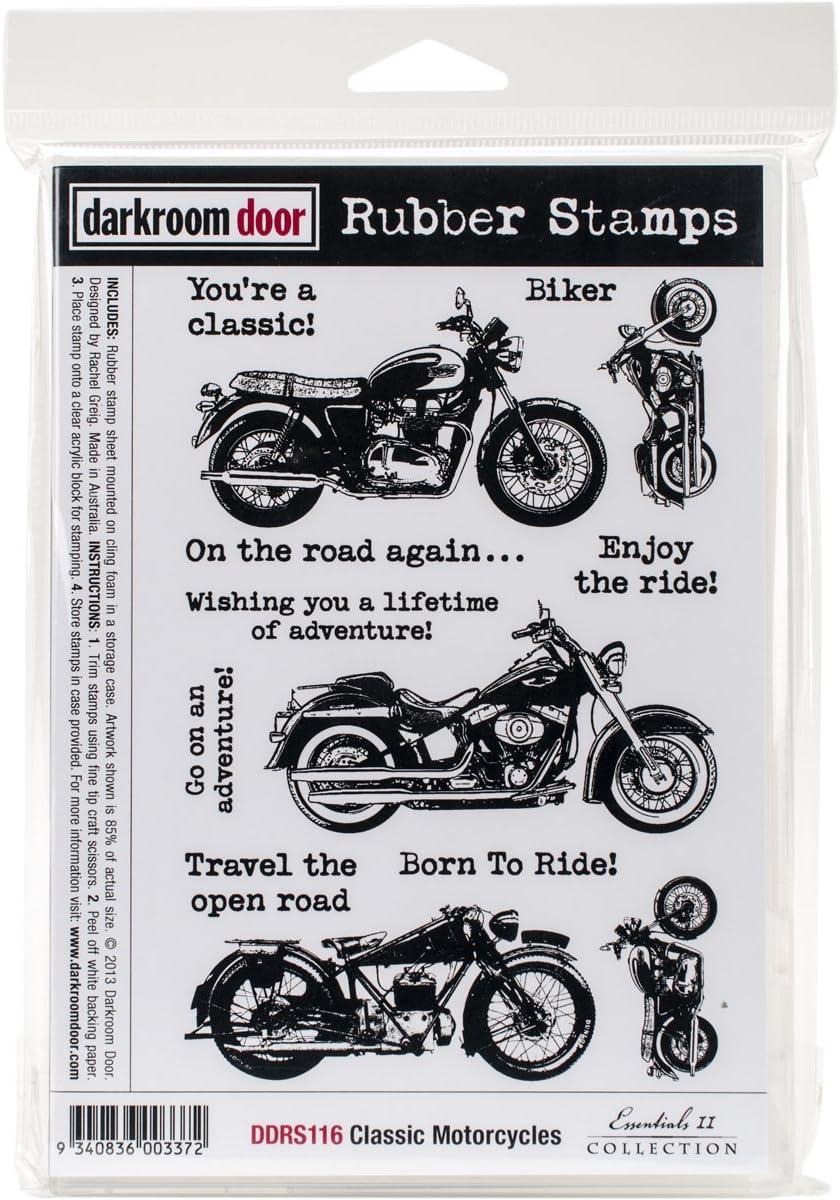 Darkroom Door Cling Stamps 7x5-Classic Motorcycle