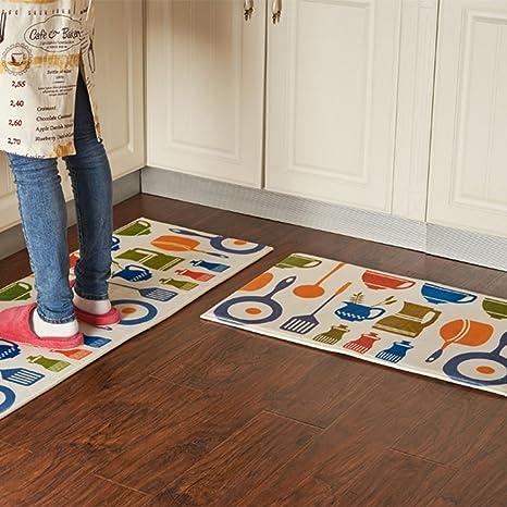 Amazon.com: A.B Crew Modern Kitchen Floor Carpet Washable Bathroom ...