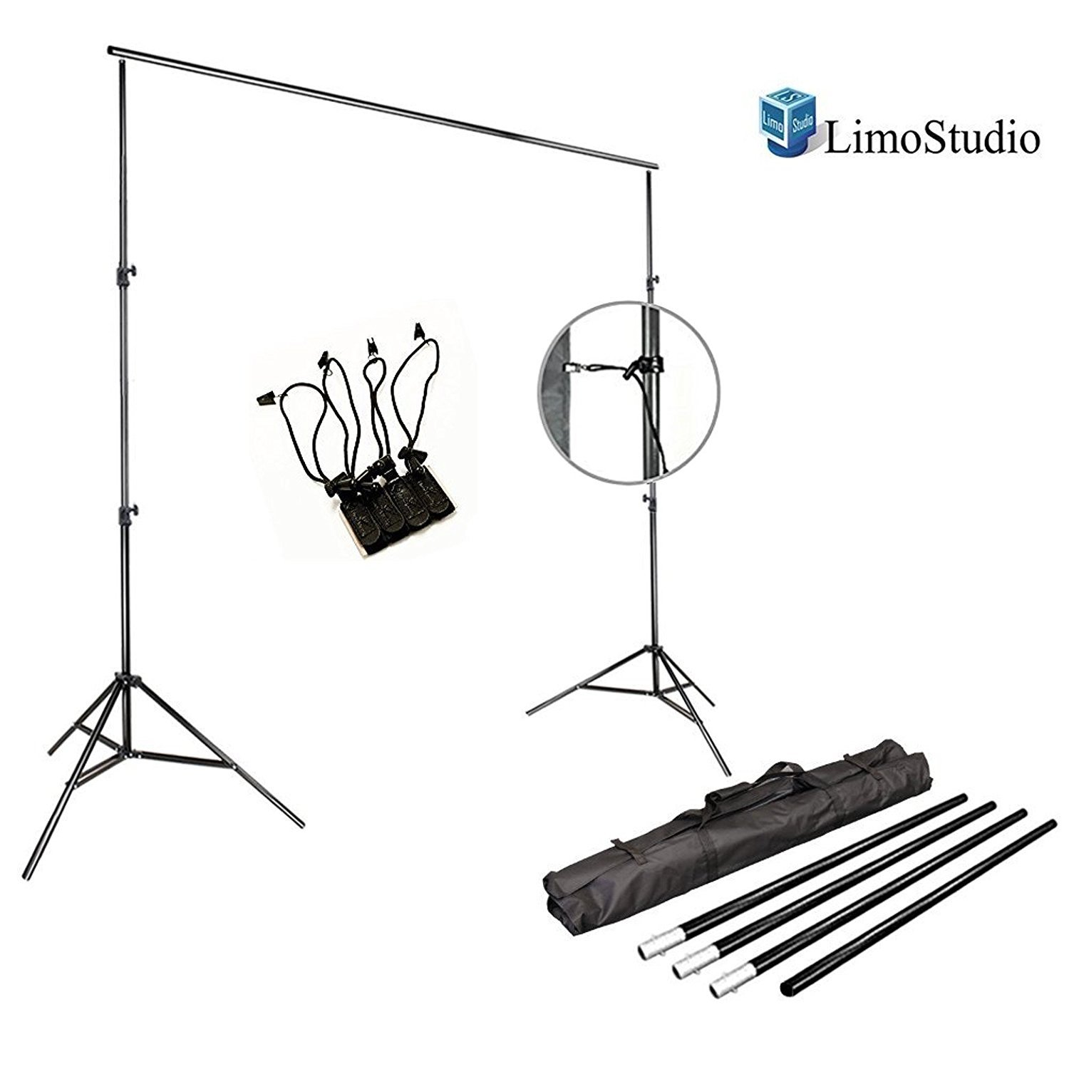 LimoStudio Photo Video Studio 10Ft Adjustable Muslin Background Backdrop Support System Stand with 4 PCS x Backdrop Holders, AGG292 by LimoStudio