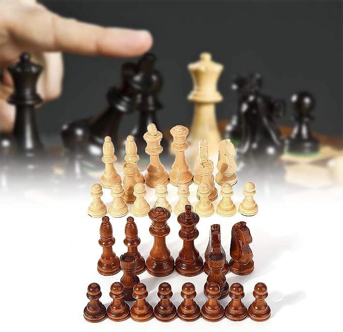 Kanqingqing Juego de Mesa de Viaje 32 Piezas de Madera Tallada de ajedrez Rey Pieza de ajedrez Mano Hecha a Mano Set de Entretenimiento al Aire Libre Juguete 10.5cm para niños y