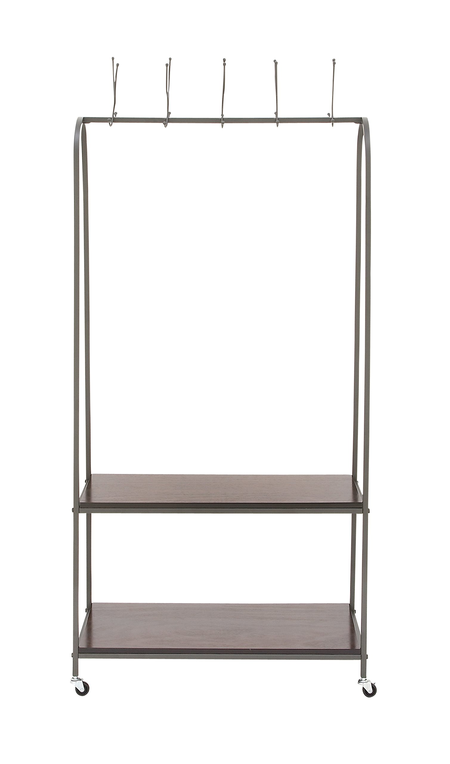Benzara 92684 Metal Wood Coat Rack, 32''W x 69''H