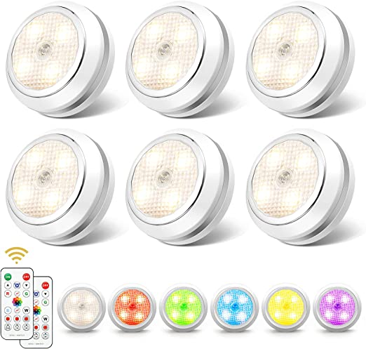 SOLMORE LED Puck Lights with Touch Control & Remote Control 16 RGB Color Under Cabinet Lighting Wireless LED Closet Lights Battery Operated Night Lights for Cabinet, Counter, Kitchen (6 Pack)