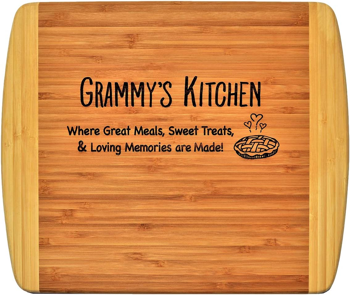 Grammy Gift - Grammy's Kitchen Where Great Meals Sweet Treats & Loving Memories are made - Engraved 2-Tone Bamboo Cutting Board Grandma Christmas Birthday Mothers Day For Decor & Usage (11.5x13.5)