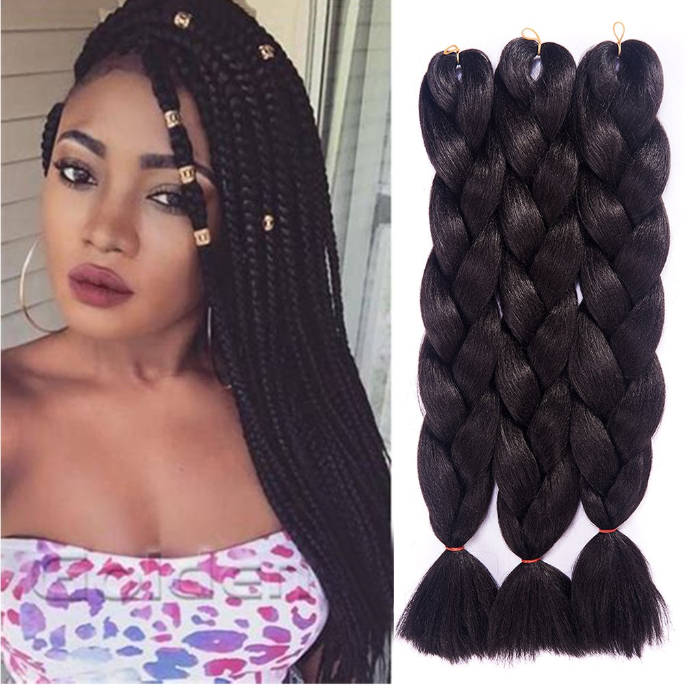 Amecire 24 Synthetic Braiding Hair Extensions Kanekalon Hair Ombre Twist Braiding Hair High Temperature Hair Extensions 3 Pcs/Lot 100g/Pc ( White )