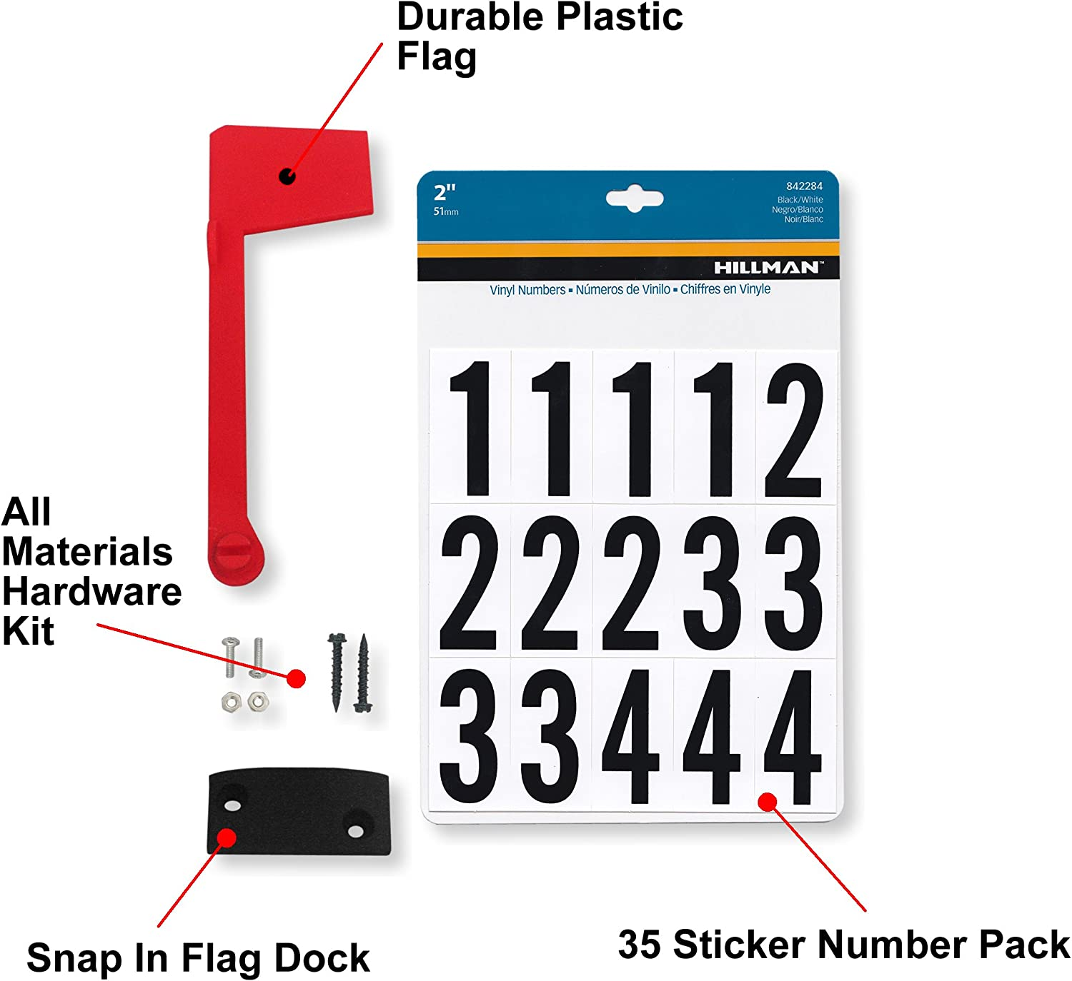 Mailbox Number Sticker Flag Replacement Kit for Wooden Metal Plastic Surface